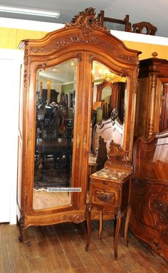 French Antique Walnut Louis XV Full Size Bed, Armoire U0026 Nightstand