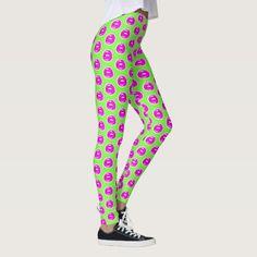 Kiss Me Green Patterned Leggings #beebeedeigner #art #design #retro #retroart #lips #pinklips #leggings #fashion #fashionlovers #fashionista #fashionblogger #zazzle #zazzlemade