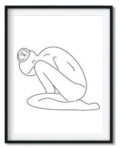 Wall Art - Minimalist Black&White Line drawing print - Framed / unframed art print (A-799) Drawing Frames, Black And White Lines, Framed Prints, Art Prints, Line Drawing, Fine Art Paper, Clear Acrylic, Cotton Canvas, Monochrome
