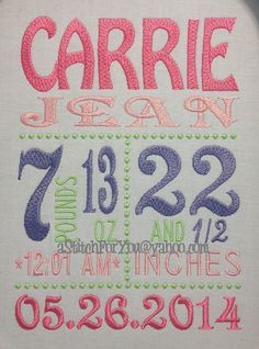 Custom BABY Boy or Girl DETAILS 5x7 Subway Tile Birth Newborn Announcement -  Machine Embroidery Design by Carrie