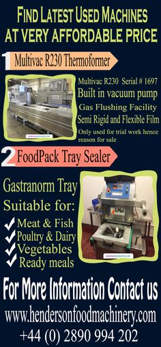 Our range of new and used equipment is extensive as you will see from our categories, we can supply into many sectors, Meat, Fish, Poultry, Bakery, Confectionary, Petfood, Ready Meals, Vegetable, Fruit, Dairy and Brewing Industry.