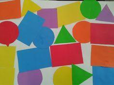 Composición con figuras geométricas de colores (triangulo, circulo, cuadrado, rectángulo) Edad: 3 años