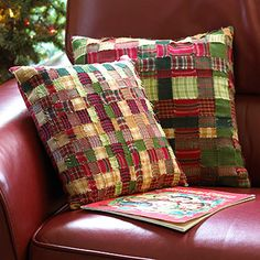 Make a pair of pretty plaid pillows by weaving strips of your favorite fabrics.