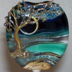 WSTGA~BLUE LAGOON AND THE GOLDEN TREE~ handmade lampwork focal glass bead SRA By Molly Cooley