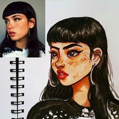 Drawing Doodles Sketches My first time doing this. Sketchbook Drawings, Doodle Drawings, Cartoon Drawings, Cartoon Art, Cute Drawings, Art Sketches, Watercolor Portraits, Watercolor Art, Watercolor Landscape