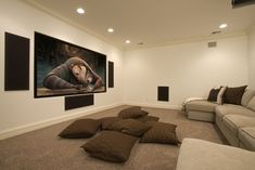 I like the large screen, the wide couch, the big floor pillows and the big speakers placed throughout this media room