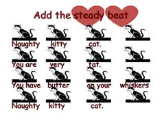 Naughty Kitty Cat--Fun Game and Song to teach K and 1 rhythm (ta, ta-ti, quarter rest) Music Link, 6 Music, Piano Music, Music Games, Preschool Music, Teaching Music, Music Lesson Plans, Music Lessons, Rhythm Games