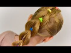 VERY SIMPLE: Pull Through Braid with Bright Elastics. Quick and Easy Hairstyle #29 - YouTube