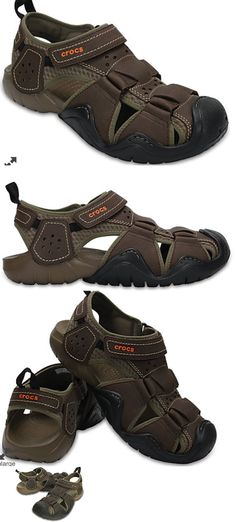 a99754d14858 Sandals and Flip Flops 11504  Men S Crocs Swiftwater Brown Leather  Fisherman Sandals -  BUY IT NOW ONLY   55.99 on eBay!