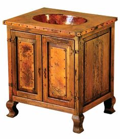 Reclaimed copper paired with distressed aged wood makes a very beautiful western style vanity in custom sizes for Rustic, Mediterranean & ranch decors. Custom