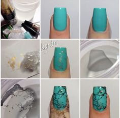 Nail art gold turquoise black, with spray hair technic on water