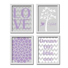 Custom Personalized Child Name Grey Purple LOVE Dream Tree Nursery Print Artwork Set of 4 Prints Girl WALL Decor ART Picture Chevron Flower