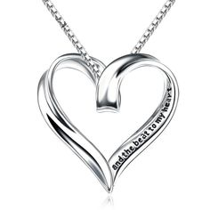 "Sterling Silver Hollowed Out Heart Engraved ""you are the smile to my f 