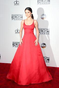 Selena Gomez in a striking floor length red gown
