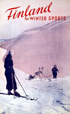 Shop Vintage Winter sports, Ski Finland Postcard created by PigeonPost. Vintage Ski Posters, Nordic Skiing, Winter Illustration, Lapland Finland, Vintage Winter, Snow Skiing, Travel Images, Travel Ads, Snowboarding