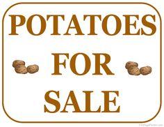 Printable Potatoes For Sale Sign