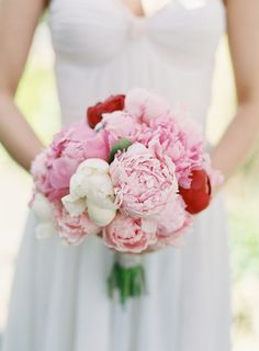 Pink peony bouquet | Blush Wedding Photography via Wedding Sparrow