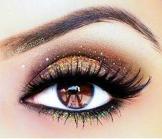 Chocolate Gold Glamour eye #makeup #brown eyes