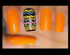 Unhas Decoradas Étnicas matte verão 2015 nail art adesivo com plaquinhas