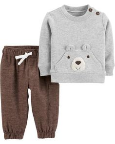 2 Piece Bear Fleece Pullover Flannel Pant Set+ - Baby Boy Names Baby Girl Names Baby Outfits, Toddler Outfits, Kids Outfits, Baby Dresses, Toddler Shoes, Baby Boy Fashion, Kids Fashion, Style Fashion, Fashion Shops