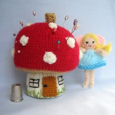 Knitting pattern for Toadstool Pincushion and Fairy - SIZE – Toadstool pincushion 10cm (4in). Fairy 9cm (3½ in). Can be used for pins and needles or as a tiny toy.