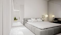 White minimalist spaces that make you forget everything about color – Modern Apartment Decoration Ideas Master Bedroom Design, Home Bedroom, Modern Bedroom, Bedroom Decor, Minimalist Apartment, Minimalist Bedroom, Modern Minimalist, All White Bedroom, Kempinski Hotel