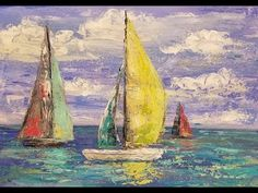 Simple Sailboat Seascape Acrylic Painting Tutorial using Palette Knife L...