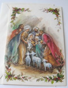 unused vtg christmas card nativity with lambs wisemen magi vintage greeting cards lambs - Nativity Christmas Cards