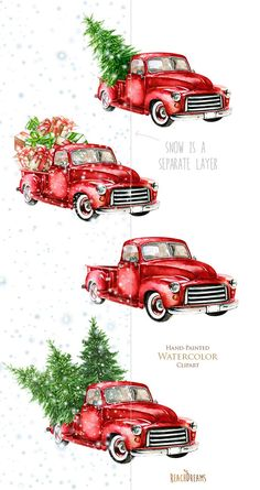 Watercolor Christmas Truck Vintage Red Pickup Pine by ReachDreams - Before After DIY Christmas Red Truck, Noel Christmas, Christmas Pictures, Christmas Projects, Vintage Christmas, Christmas Ornaments, New Years Decorations, Christmas Tree Decorations, Vintage Car Decor