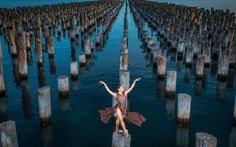 """Australian Nikon-Walkley Awards 2016 Winners.Photo by Jason Edwards/The Walkley Foundation. Jason has beautifully captured a year of politics, sport and art in Australia. Through his lens he has also helped put a human face to social issues in the news"""". Here, Melbourne Ballet Company dancer Kristy Lee Denovan is pictured at Princess Pier."""