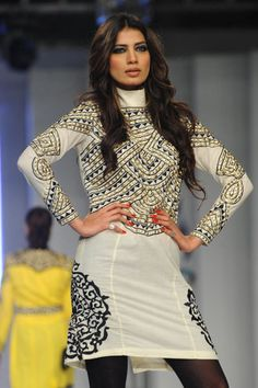 A model presents a creation by Pakistani designer Akif Mahmood on the second day of the Pakistan Fashion Design Council (PFDC) in Lahore on April 14, 2012.
