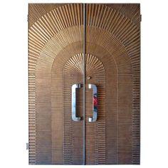 Pair of Eclipse Patterned Bonded Bronze Doors by Forms Wood Bed Design, Wooden Main Door Design, Single Door Design, Vintage Doors, Door Gate, Modern Door, Wood Beds, Single Doors, Design Concepts