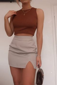 Order the Fashion Influx Brown Ribbed Crop Top from In The Style. Crop Top And Shorts, Crop Top Outfits, Cute Casual Outfits, Simple Outfits, Brown Outfit, Ribbed Crop Top, Blazer, Ideias Fashion, Brown Crop Tops