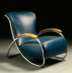 Blue KEM Weber Armchair chromiumplated steel bent plywood and original leather upholstery circa 1934 manufactured by Lloyd Manufacturing Company Menominee MI Art Deco Furniture, Plywood Furniture, Vintage Furniture, Cool Furniture, Modern Furniture, Furniture Design, Luxury Furniture, Bauhaus, Art Nouveau