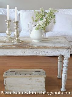 Weathered Coffee Table - Pastels and Whites