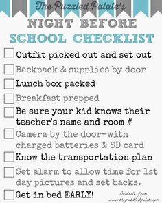 Back to School Checklist- Free Printable #typeaparent