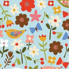 P B Textiles - Carolyn Gavin - Village Green - Flowers, Birds and Butterflies