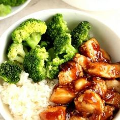 """Quick Teriyaki Chicken Rice Bowls Recipe *Bethany: Made this sauce but didn't use that much soy sauce. Go easy on soy sauce and ginger. """"Best teriyaki chicken you've made,"""" Chris. May 2020 Teriyaki Chicken Rice Bowl, Baked Teriyaki Salmon, Chicken Rice Bowls, Pollo Teriyaki, Chicken Salad, Brocolli Recipes, Chicken Recipes, Recipe Chicken, Honey Lemon Chicken"""