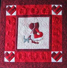 Sunbonnet Sue BOM - February Quilt Pattern (advanced beginner, wall hanging and banners) Quilt Patterns Free, Applique Patterns, Applique Quilts, Free Pattern, Girls Quilts, Baby Quilts, Sunbonnet Sue, Quilting Tips, Quilt Blocks