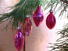 PINK SET of 4 Christmas Glass Ornament, Soviet Christmas decorations, USSR glass toys, Mercury glass toy, New Year