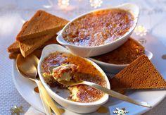 La crème brûlée au foie gras, A servir tout juste sortie du four avec une petite salade avec des tranches de pain d'épice toastées.Voir la recette de la crème brûlée au foie gras