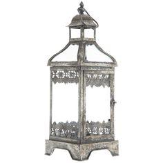 "21"" Rustic Silver Metal & Glass Lantern $30 hobbylobby"