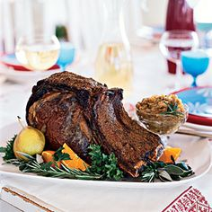 Classic vs. Modern Holiday Recipes | Modern: Coriander and Black Pepper-Crusted Rib Roast with Roasted Onions | CookingLight.com