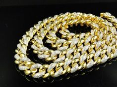 f06994dffbc Mens Yellow Gold FInish Miami Cuban Link 11 MM Real Diamond Chain Necklace  8 ct  4