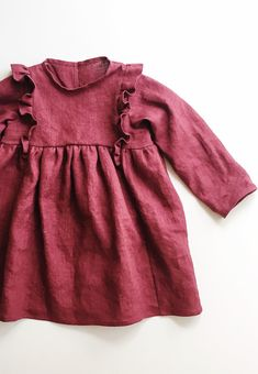 Sweet Handmade Linen Dress With Frill Detail | TotsModa on Etsy #christmasdress #holidayoutfit