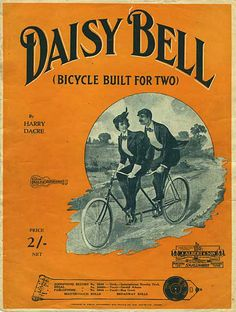 "A Gilded Age popular song reflecting the new sport of bicycling for men and women. Cover of sheet music for ""Daisy Bell -Bicycle Built For Two"". By: Harry Dacre. First published c.1892."