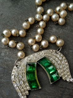1920s Art Deco Paste altered art assembled necklace by thejunkdiva, $68.00