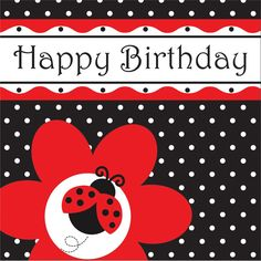 Descriptions 3 Ply Lunch Napkins Happy Birthday Ladybug Fancy - Design : Ladybug…