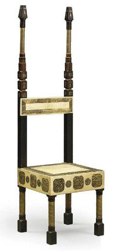 CARLO BUGATTI (1856-1940) CHAIR, CIRCA 1900, ebonised walnut, vellum, copper and pewter, 57 in. (145 cm.) high      SOLD $8,250 Christie's London, Nov. 5, 2009