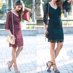 Burgundy or black? #losangeles #lace #dress